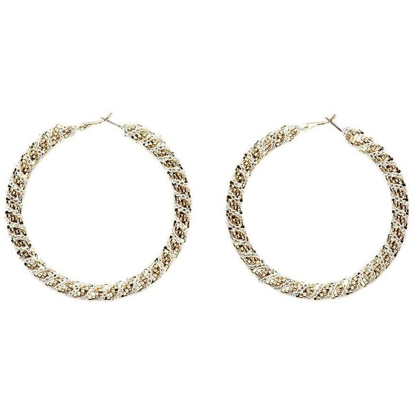Twisted Mesh & Chain Hoop Earrings - Charlotte Russe - Polyvore