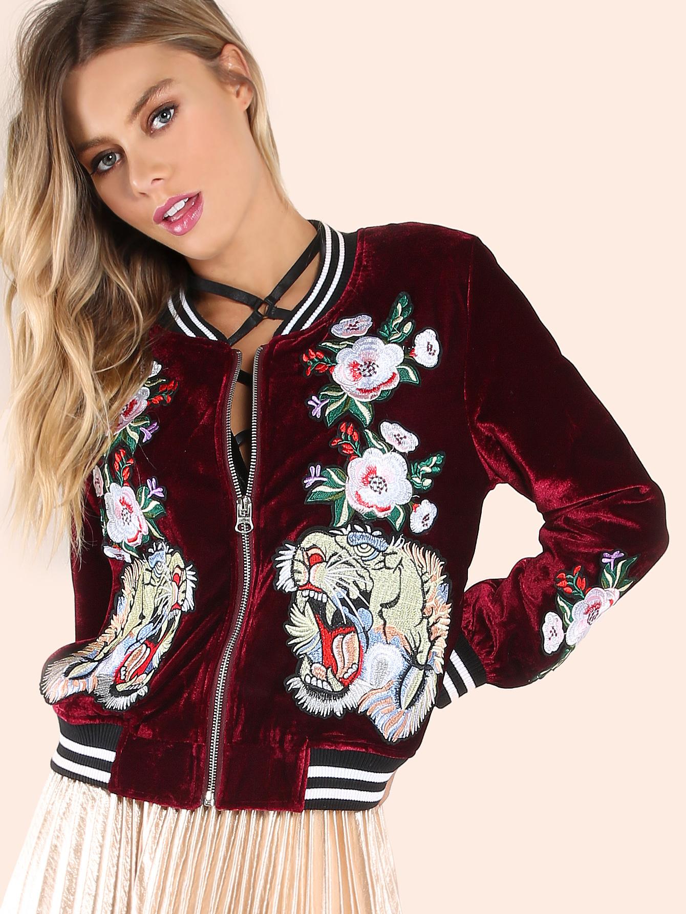 9db64bf5b7 Embroidered Floral Tiger Velvet Bomber Jacket BURGUNDY -SheIn(Sheinside)