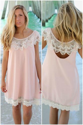 dress lace amazinglace amazinglace.com shift dress blush pink summer beach