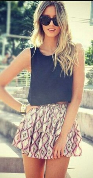 skirt shirt printed skater skirt black blouse t-shirt black top