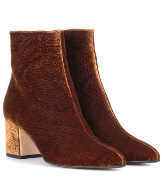 ETRO velvet ankle boots ankle boots velvet brown shoes