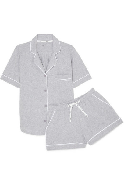 DKNY - Signature Cotton-blend Jersey Pajamas - Light gray