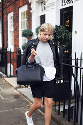 into the fold,blogger,top,jacket,bag,perfecto,cropped sweater