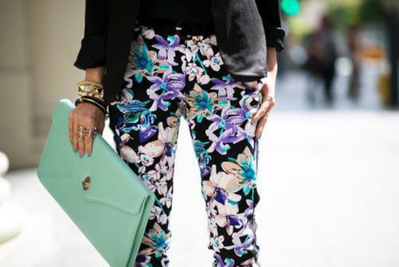 pants black classy colourful pants flowerprint purple green flower pants trousers flowers