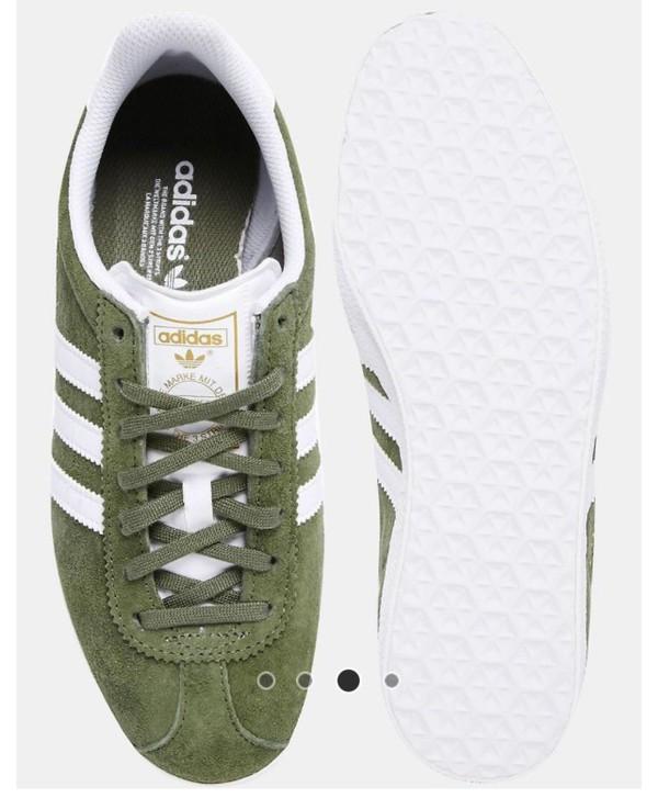 Adidas Originals   Natural Gazelle Khaki Suede Sneakers for