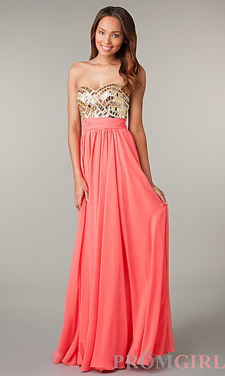 Prom Dresses, Celebrity Dresses, Sexy Evening Gowns - PromGirl: Strapless Sweetheart Full Length Dress