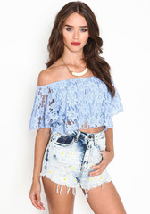 Blue lace shirt gg716ga