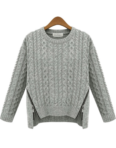 Grey long sleeve zipper cable knit sweater