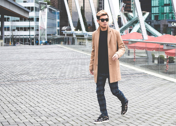 alexander liang blogger camel coat mens pants