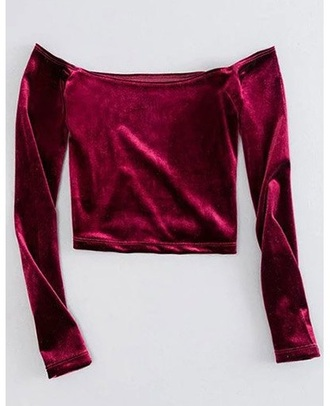 top girly girl girly wishlist off the shoulder off the shoulder top velvet crushed velvet burgundy crop tops crop cropped long sleeves