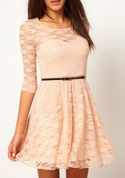 dress pink dress lace belt lace dress peach dresses girly waist belt lace dress,cute dress,beige cute
