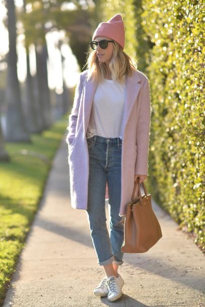 cupcakes and cashmere blogger hat sunglasses t-shirt coat jeans shoes bag