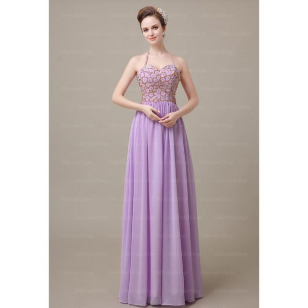 dress halter neck chiffon long prom dress