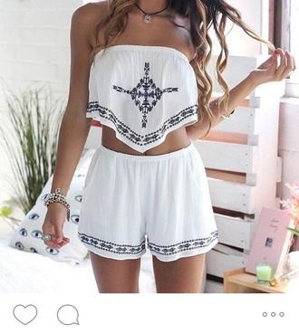 romper white romper navy cute crop tops shorts