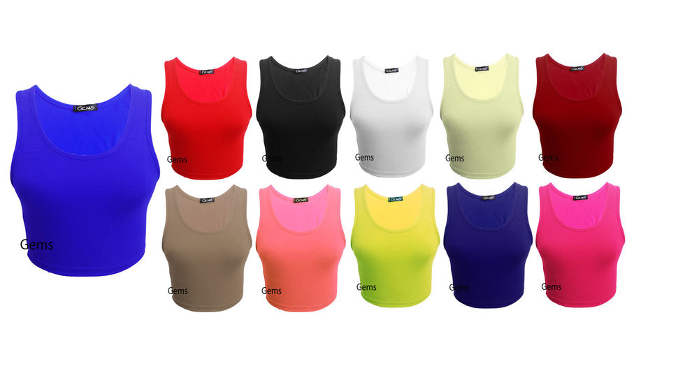 Womens Racer Back Crop Top Ladies Sleeveless Stretch Vest T Shirt Tee 8 14 | eBay
