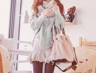 bag cute outfits ulzzang cute cute bag kawaii kawaii outfit cute sweaters cute sweater korean fashion cute skirt pastel colors pastel mint baby blue sweater knitted sweater oversized sweater white skirt white bag shirt scarf baby blue scarf stripped scarf pretty pretty outfit mint color skirt sweater