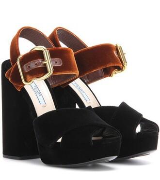 sandals platform sandals velvet black shoes
