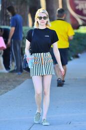 skirt,stripes,sneakers,top,emma roberts,mini skirt,streetstyle,striped skirt