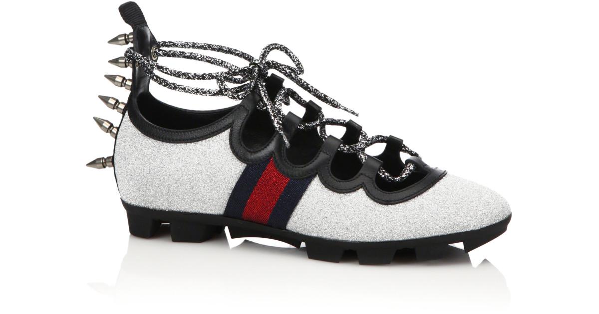 f927bff65 Gucci | Silver Titan Spiked Glitter Web Sneakers | Lyst