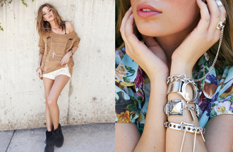 nasty gal nasty gal lookbook lookbook stacked jewelry jewels shorts crochet sweater bangles shoes metallic sweater boots stacked bracelets silver