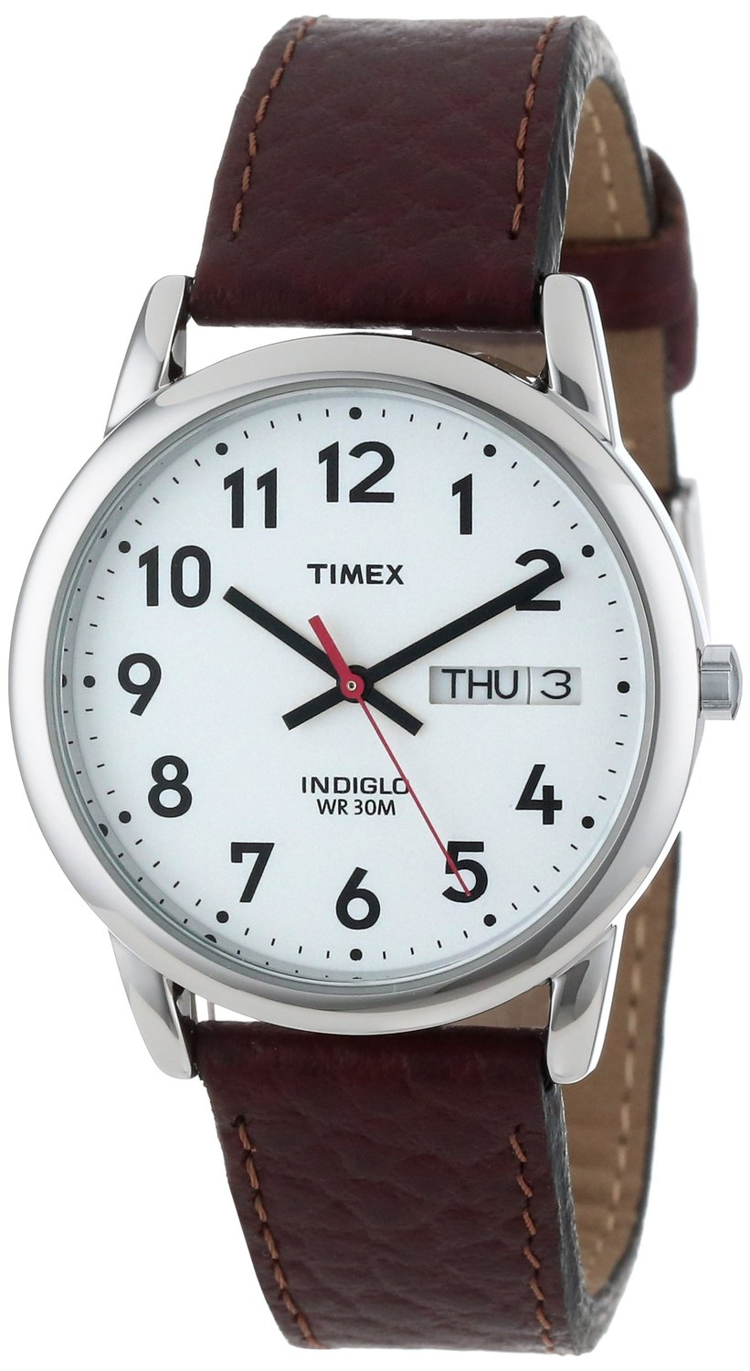 Amazon.com: Timex® Men's Easy Reader Brown Leather Watch #T20041: classic: Clothing