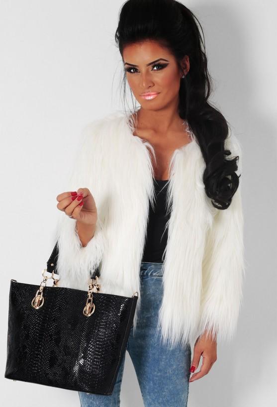 Glacial white faux fur clasp jacket