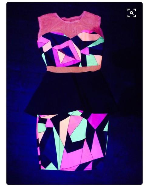 jumpsuit bright black light neon pink dress crop 2 piece skirt set orange glow in the dark