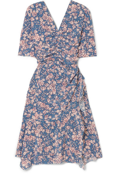 Isabel Marant - Brodie Floral-print Stretch-silk Crepe Dress - Blue