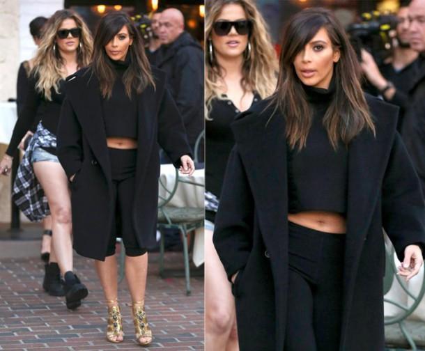 coat boyfriend coat black coat kim kardashian