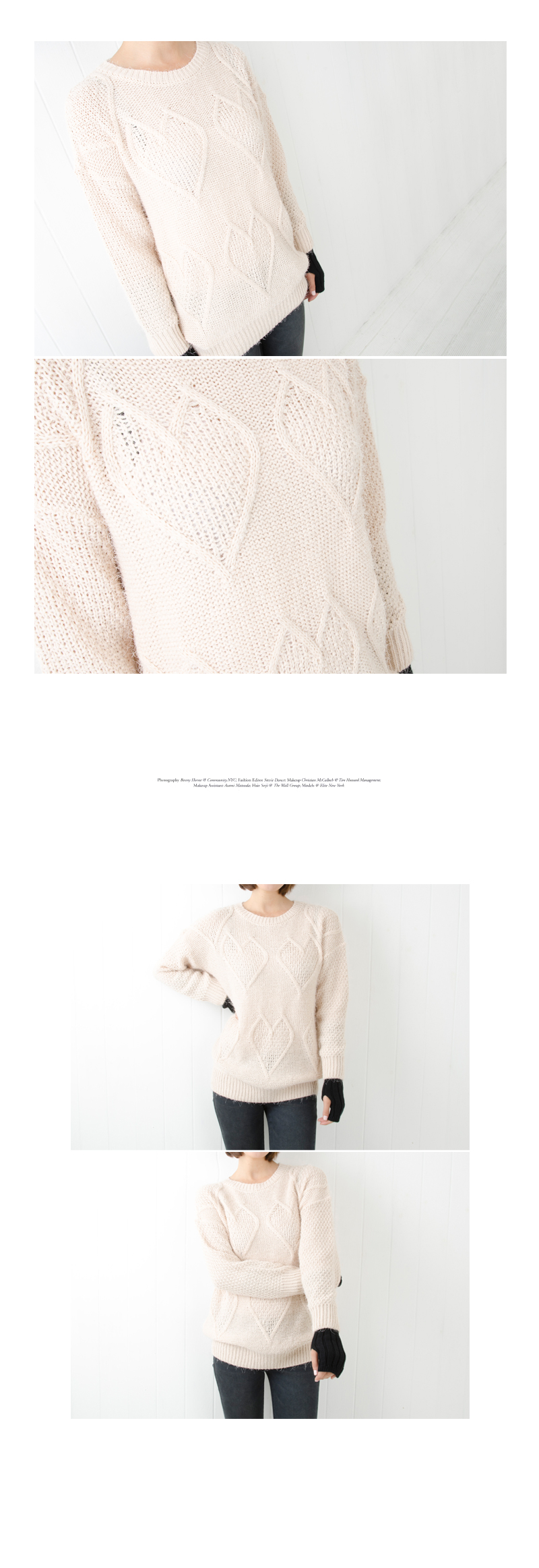 Heart-Pattern Knit Top , Beige , One Size - Cookie 7 | YESSTYLE Hong Kong