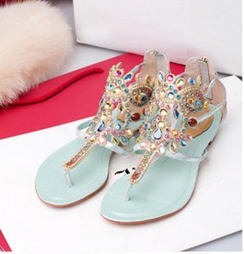 Fashion hollow out rhinestone colorful high quality sandal