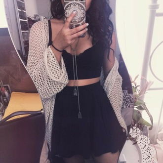 skirt bandeau cardigan where top