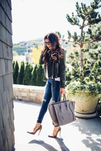 jacket tumblr black boots high heels boots pumps pointed toe pumps high heel pumps leopard print bag grey bag denim jeans blue jeans ripped jeans suede jacket green jacket fall outfits