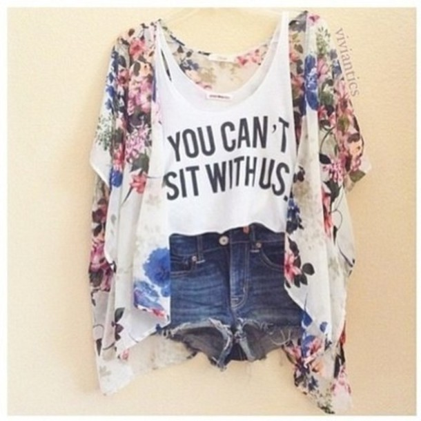 Jacket: kimono, floral, pretty, shirt, shorts, t-shirt, you can't ...
