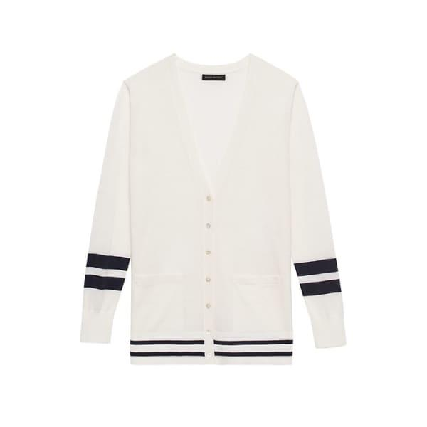Banana Republic Women's Washable Merino Boyfriend Cardigan Sweater White & Navy Stripe Regular Size M