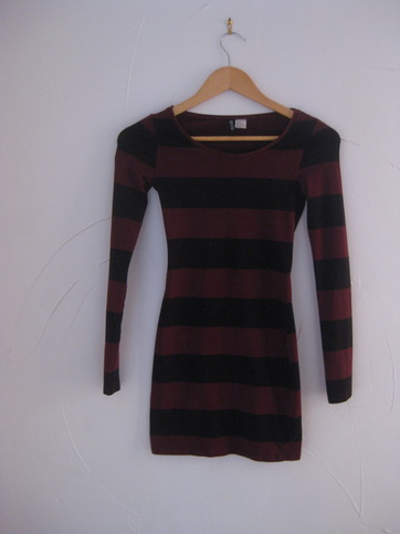 H&m maroon and black striped body con dress size 4 from nightmere clothing on storenvy
