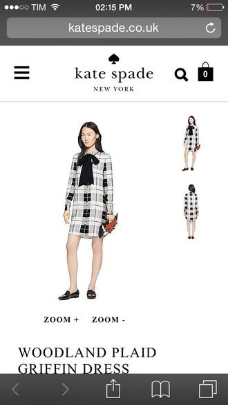 dress kate spade checkered dress tartan bow dress preppy blair waldorf