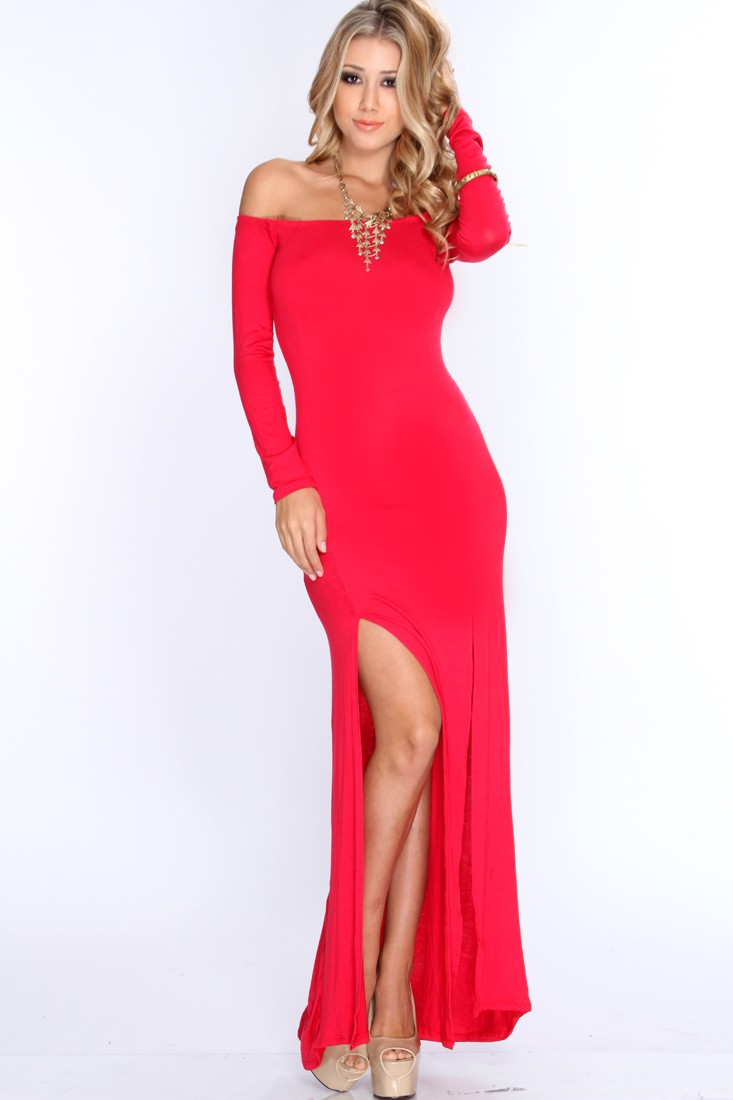 Red Off shoulders Long Sleeve Sexy Maxi Dress