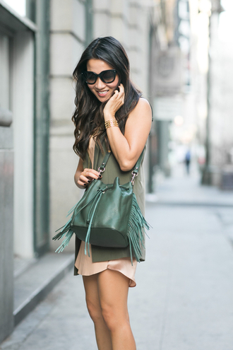 wendy's lookbook blogger silk dress nude dress fringed bag