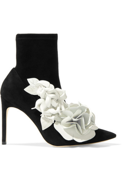 suede ankle boots ankle boots floral leather suede black shoes