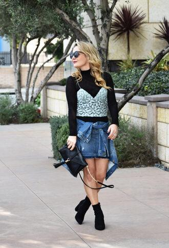 thehuntercollector blogger tank top skirt shoes bag sunglasses jacket denim skirt denim jacket ankle boots