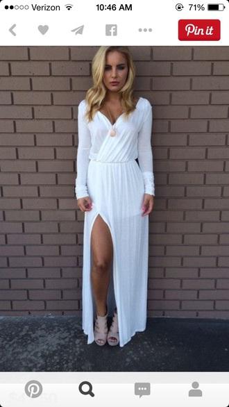 dress white long sleeve deep v neck dress