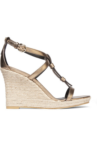 metallic london sandals wedge sandals leather gold shoes