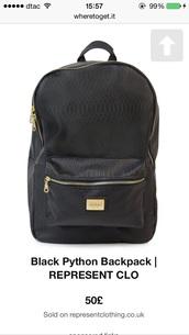 bag,black python backpack
