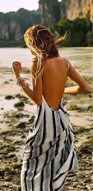 dress blue dress stripes maxi dress backless dress