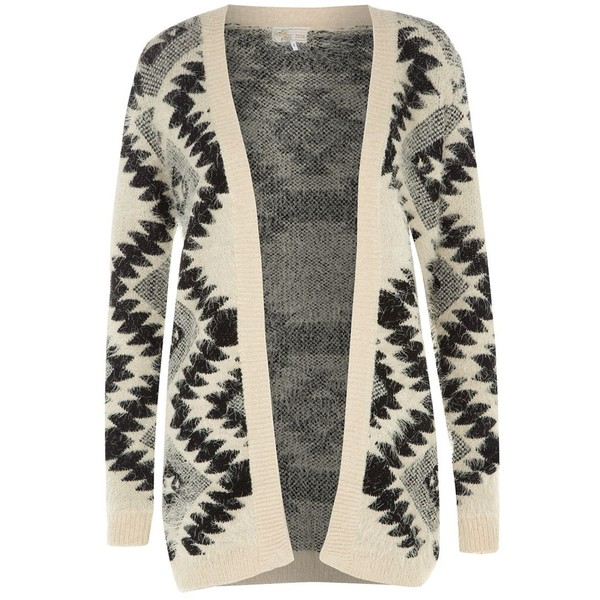 Cameo Rose Cream Diamond Print Fluffy Cardigan - Polyvore