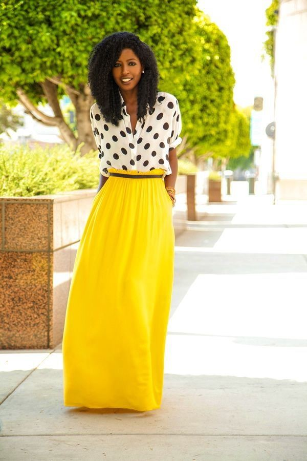 yellow maxi skirt loose summer skirt