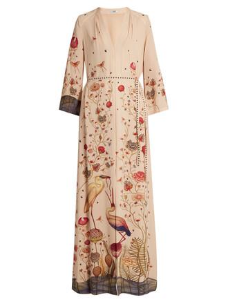 gown print silk cream dress