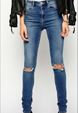 pants blue jeans holes high waisted jeans