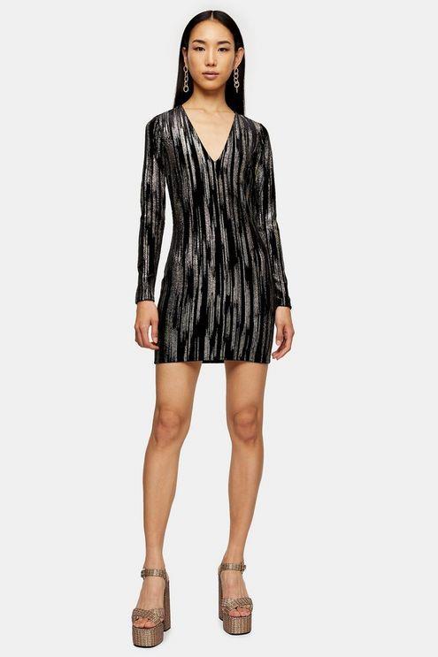 Black Glitter Velvet Mini Dress - Black